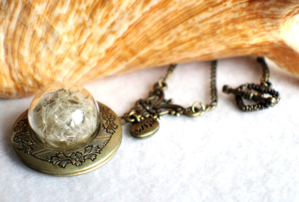Dandelion seed round photo locket with bronze accents and wish charm. - Char's Favorite Things - 2