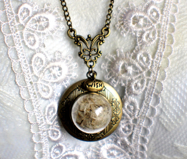 Dandelion seed round photo locket with bronze accents and wish charm. - Char's Favorite Things - 3