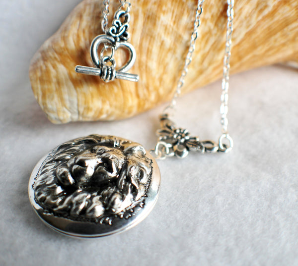 Lion photo locket, round silver tone locket with lion on front cover. - Char's Favorite Things - 2