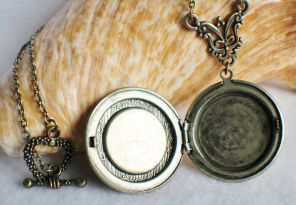 Heart photo locket, round bronze locket with stacked hearts on front cover. - Char's Favorite Things - 4