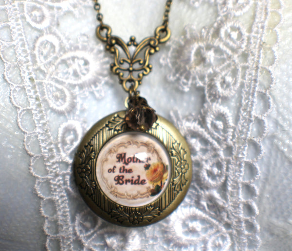 "Mother of the Bride photo locket, round bronze locket with glass cabochon and the words ""Mother of the Bride"" on front cover. - Char's Favorite Things - 3"