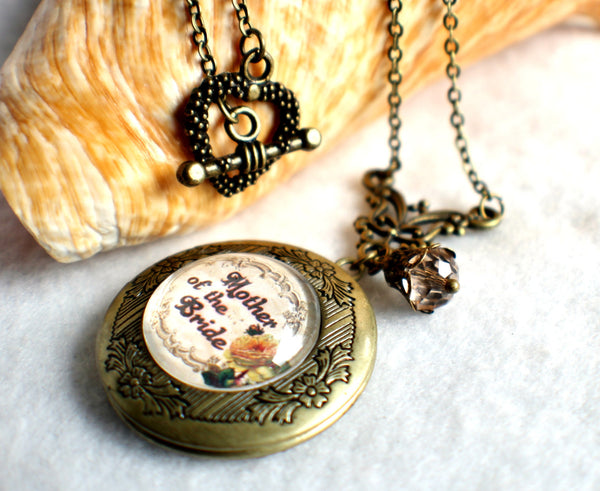"Mother of the Bride photo locket, round bronze locket with glass cabochon and the words ""Mother of the Bride"" on front cover. - Char's Favorite Things - 2"