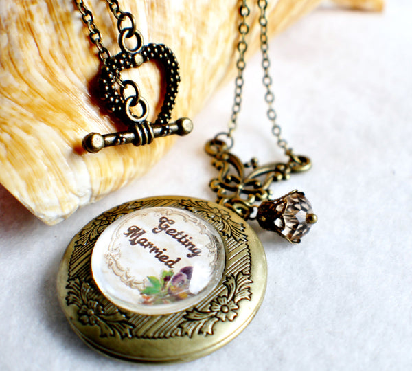 "Wedding photo locket, round bronze locket with glass cabochon and the words ""Getting Married"" on front cover. - Char's Favorite Things - 2"