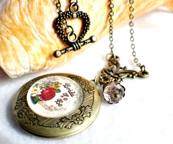 "Bride to be photo locket, round bronze locket with glass cabochon and the words ""Bride to Be"" on front cover. - Char's Favorite Things - 2"