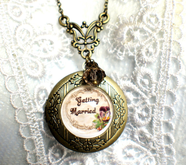 "Wedding photo locket, round bronze locket with glass cabochon and the words ""Getting Married"" on front cover. - Char's Favorite Things - 3"