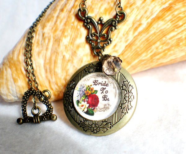 "Bride to be photo locket, round bronze locket with glass cabochon and the words ""Bride to Be"" on front cover. - Char's Favorite Things - 1"