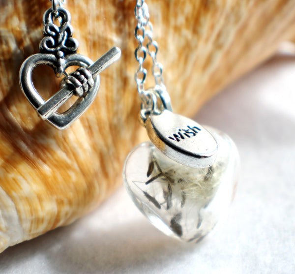 Dandelion seed necklace, heart shaped glass make a wish necklace with silver accents. - Char's Favorite Things - 1