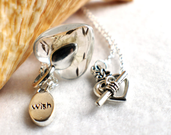 Dandelion seed necklace, heart shaped glass make a wish necklace with silver accents. - Char's Favorite Things - 4