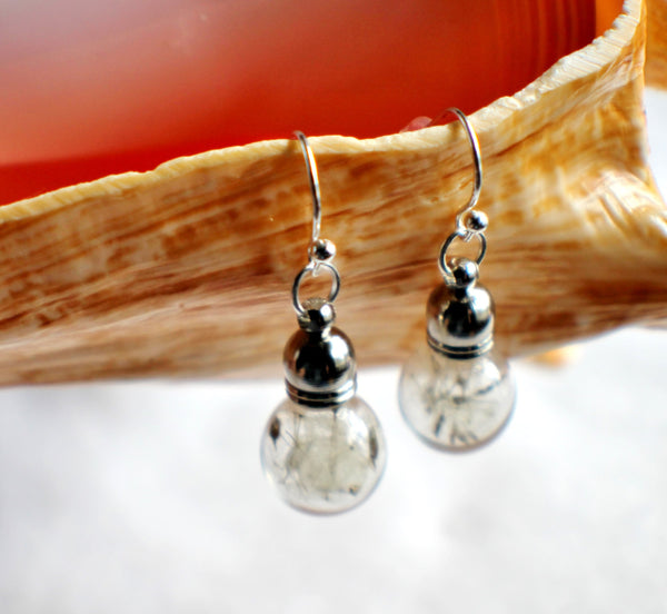 Earrings, glass globe dangle earrings  filled with dandelion wishes - Char's Favorite Things - 4