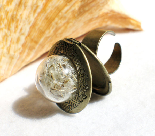 Dandelion seed, photo locket ring, glass globe ring filled with dandelion seeds in bronze. - Char's Favorite Things - 2