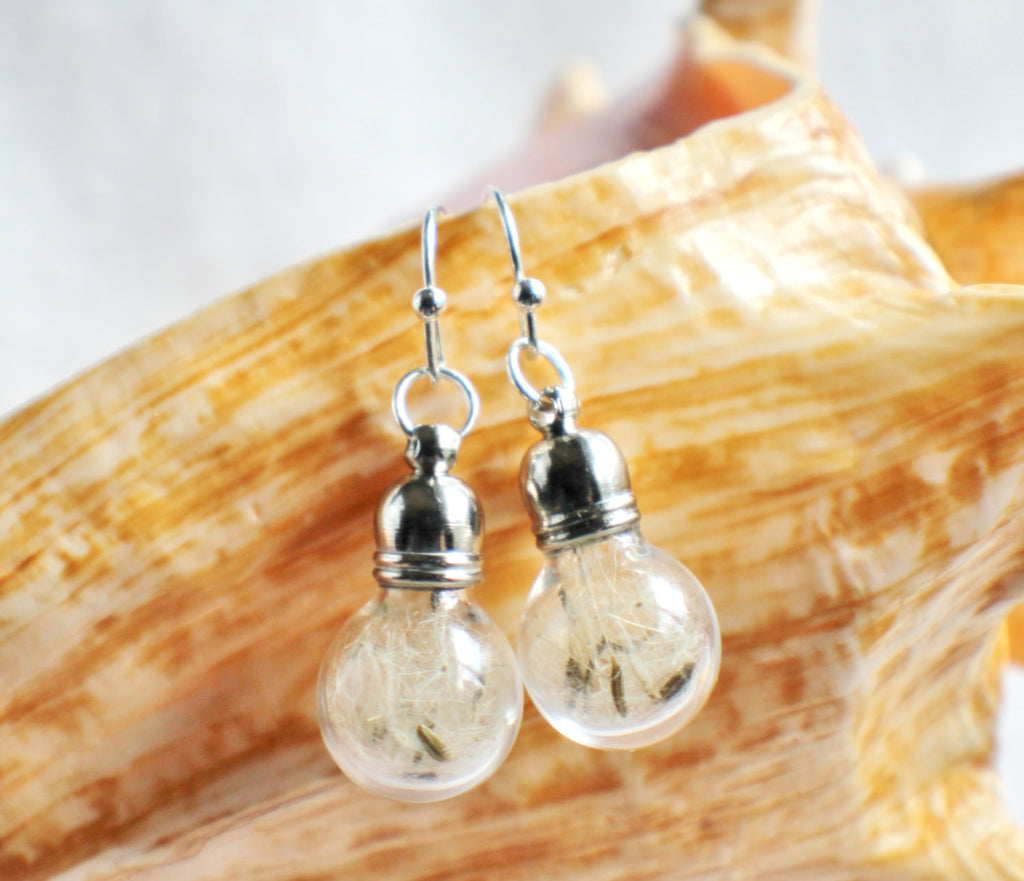 Earrings, glass globe dangle earrings  filled with dandelion wishes - Char's Favorite Things - 1