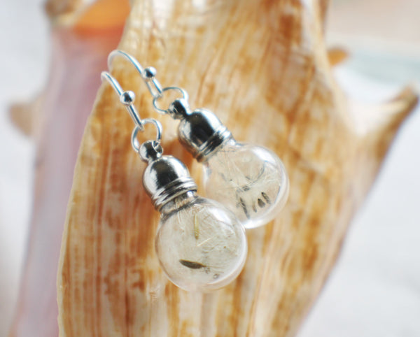 Earrings, glass globe dangle earrings  filled with dandelion wishes - Char's Favorite Things - 3