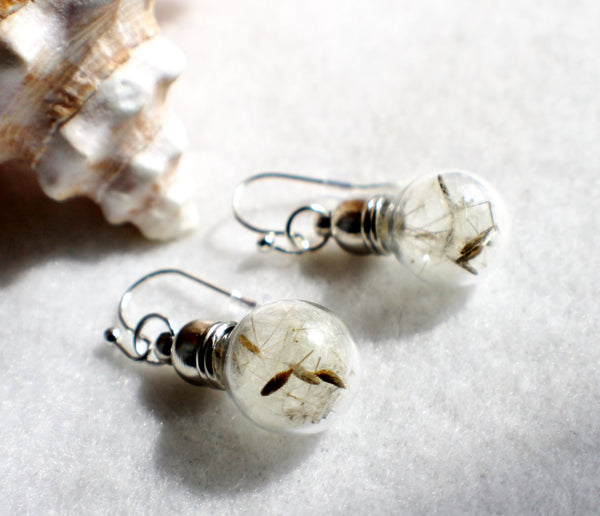 Earrings, glass globe dangle earrings  filled with dandelion wishes - Char's Favorite Things - 2