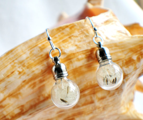 Earrings, glass globe dangle earrings  filled with dandelion wishes - Char's Favorite Things - 5