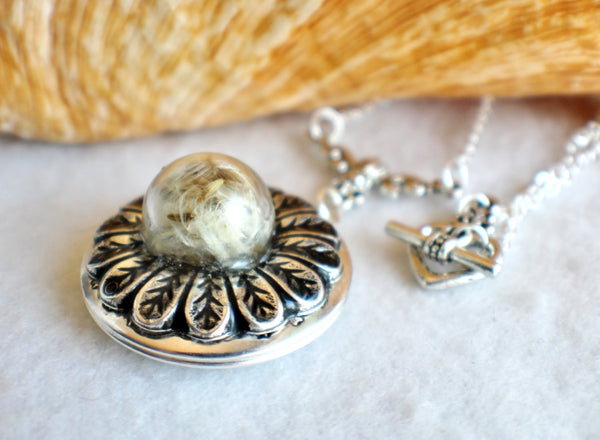 Dandelion seed round photo locket with silver accents - Char's Favorite Things - 2