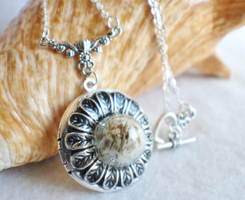 Dandelion seed round photo locket with silver accents - Char's Favorite Things - 1