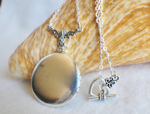 Dandelion seed round photo locket with silver accents - Char's Favorite Things - 5