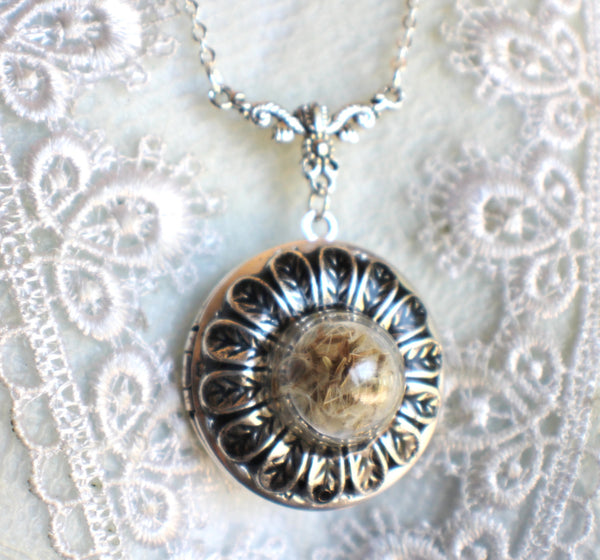Dandelion seed round photo locket with silver accents - Char's Favorite Things - 3