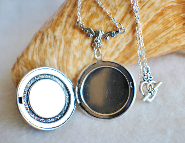 Dandelion seed round photo locket with silver accents - Char's Favorite Things - 4
