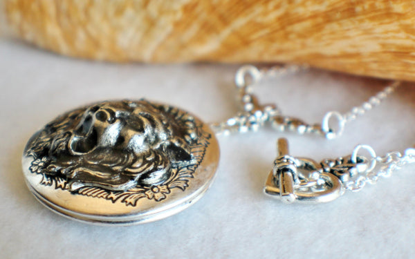 Lion photo locket, round silver tone locket with roaring lion on front cover. - Char's Favorite Things - 2