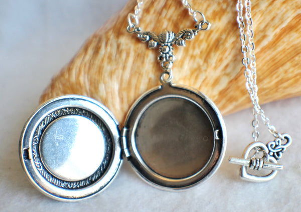 Lion photo locket, round silver tone locket with roaring lion on front cover. - Char's Favorite Things - 4