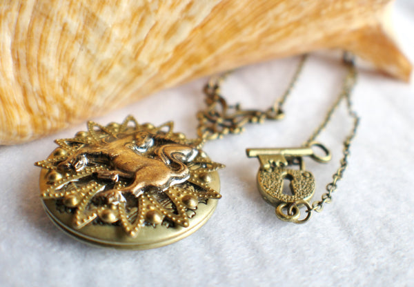 Unicorn photo locket, round bronze locket with unicorn and bronze filigree on front cover. - Char's Favorite Things - 2