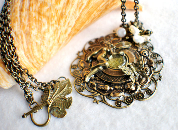 Fairy pendant with layers of bronze rings and floral filigree - Char's Favorite Things - 2