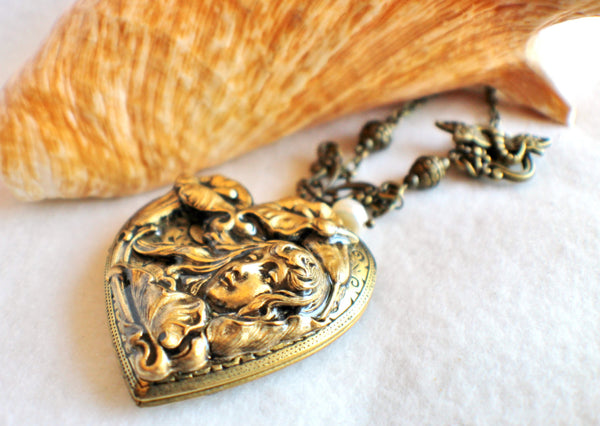 Victorian maiden photo locket, heart shaped bronze plated locket with Victorian maiden and lilies on front cover. - Char's Favorite Things - 2