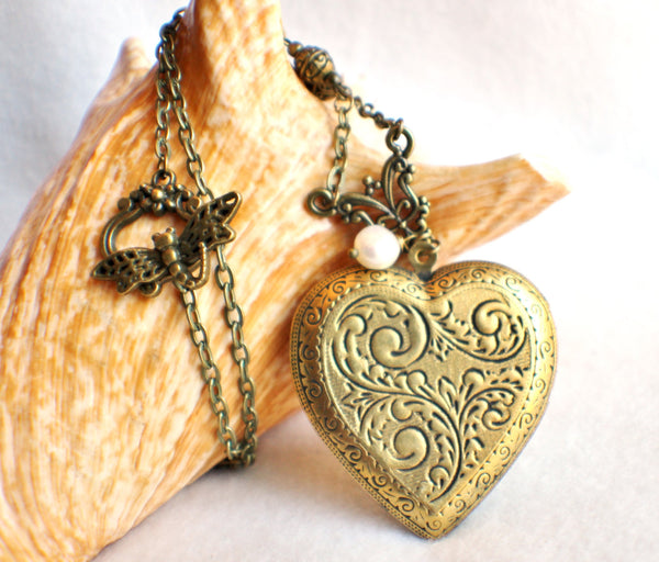 Victorian maiden photo locket, heart shaped bronze plated locket with Victorian maiden and lilies on front cover. - Char's Favorite Things - 4