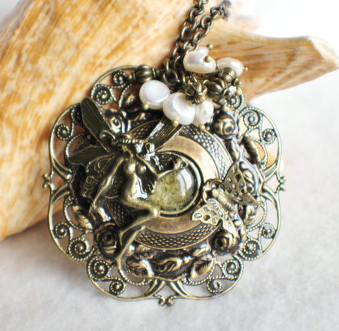 Fairy pendant with layers of bronze rings and floral filigree - Char's Favorite Things - 1