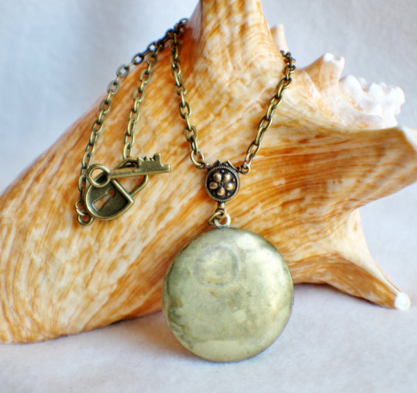 Moon photo locket, round bronze locket with moon man on front cover. - Char's Favorite Things - 5
