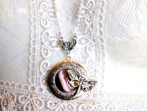 Dragonfly photo locket, round silver tone locket with purple cats eye cabochon and silver dragonfly on front cover. - Char's Favorite Things - 3