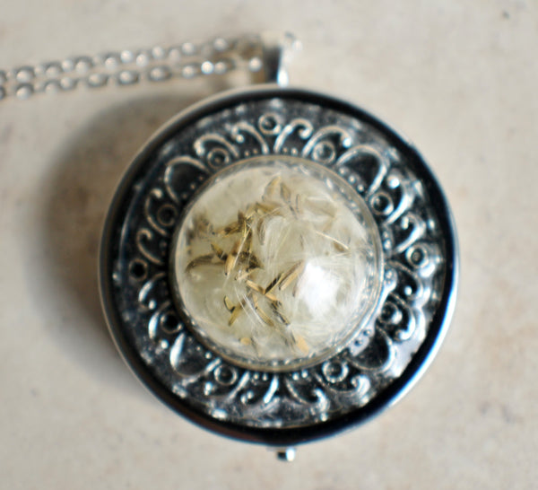Music box locket,  round locket with music box inside, in silver with dandelion wishes encased in glass - Char's Favorite Things - 3
