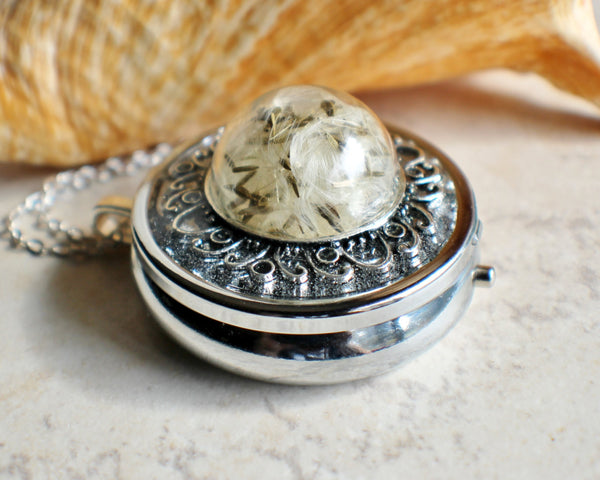 Music box locket,  round locket with music box inside, in silver with dandelion wishes encased in glass - Char's Favorite Things - 2