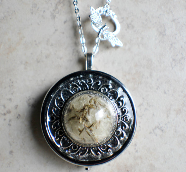 Music box locket,  round locket with music box inside, in silver with dandelion wishes encased in glass - Char's Favorite Things - 4