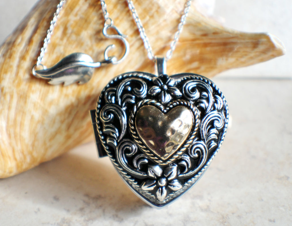 Music box locket,  heart shaped locket with music box inside, in silver tone with heart on front cover. - Char's Favorite Things - 1
