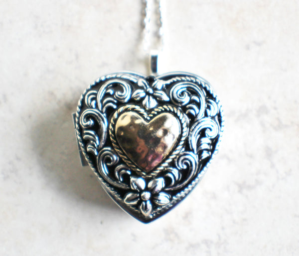 Music box locket,  heart shaped locket with music box inside, in silver tone with heart on front cover. - Char's Favorite Things - 4