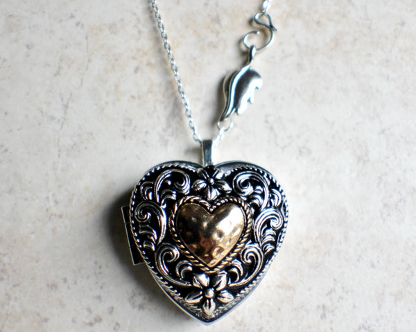 Music box locket,  heart shaped locket with music box inside, in silver tone with heart on front cover. - Char's Favorite Things - 3