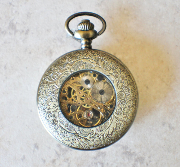 Owl pocket watch, mens mechanical pocket watch with owl mounted on front case - Char's Favorite Things - 5