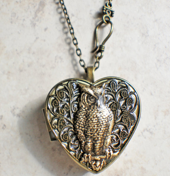 Music box locket, heart shaped locket with music box inside, with a bronze filigree and a bronze owl on front cover. - Char's Favorite Things - 4