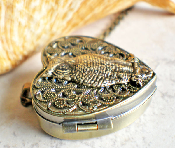 Music box locket, heart shaped locket with music box inside, with a bronze filigree and a bronze owl on front cover. - Char's Favorite Things - 2