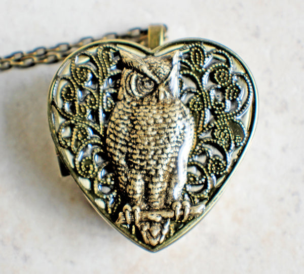 Music box locket, heart shaped locket with music box inside, with a bronze filigree and a bronze owl on front cover. - Char's Favorite Things - 3