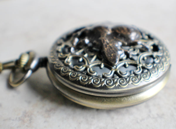 Bumble bee pocket watch,  men's bumble bee pocket watch with tiger eye beads on watch chain - Char's Favorite Things - 3