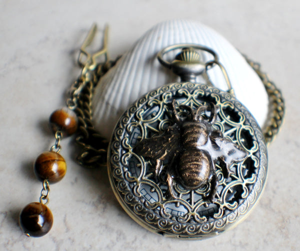 Bumble bee pocket watch,  men's bumble bee pocket watch with tiger eye beads on watch chain - Char's Favorite Things - 2