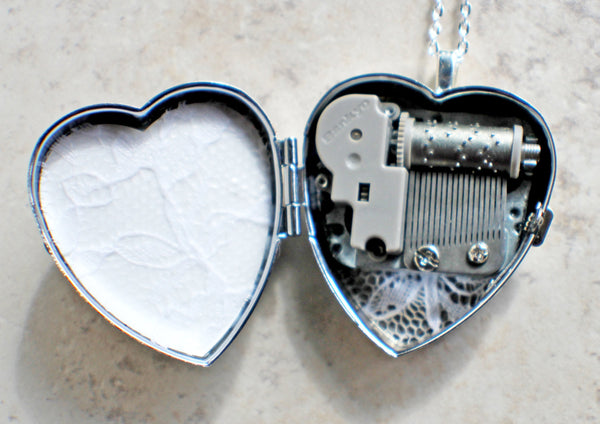 Music box locket, heart locket with music box inside, in silver tone with floral heart, angel wings and dragons breath opal cabochon. - Char's Favorite Things - 5