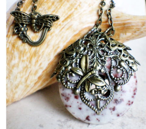 Crazy lace agate pendant, a round donut stone adorned with bronze filigree and dragonfly. - Char's Favorite Things - 1