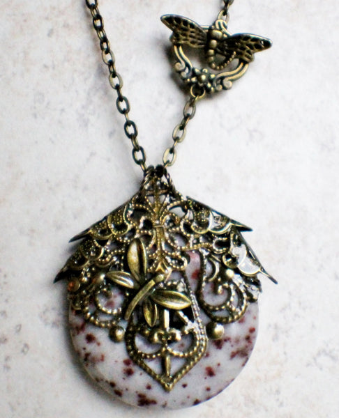 Crazy lace agate pendant, a round donut stone adorned with bronze filigree and dragonfly. - Char's Favorite Things - 4