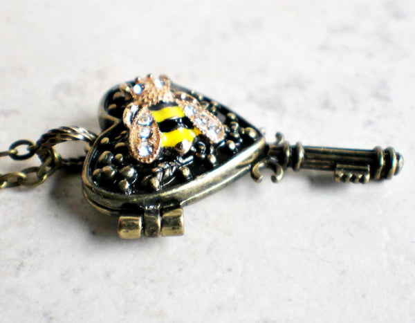 Bumble bee heart key photo locket, heart shaped bronze key locket with a bumble bee on front cover. - Char's Favorite Things - 2