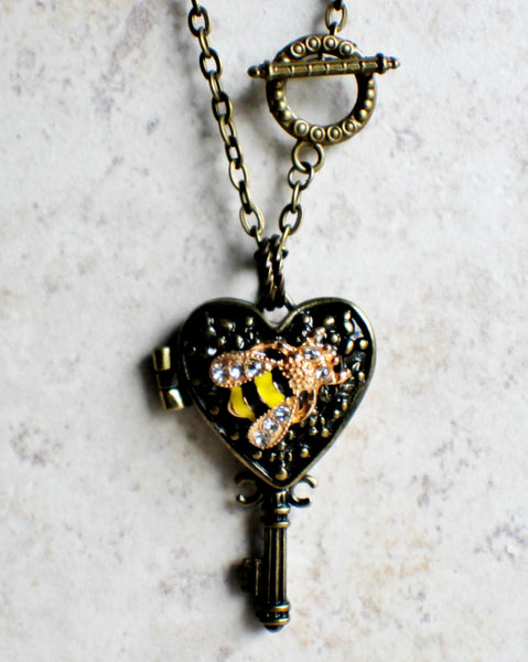 Bumble bee heart key photo locket, heart shaped bronze key locket with a bumble bee on front cover. - Char's Favorite Things - 3