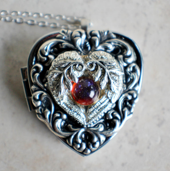 Music box locket, heart locket with music box inside, in silver tone with floral heart, angel wings and dragons breath opal cabochon. - Char's Favorite Things - 3